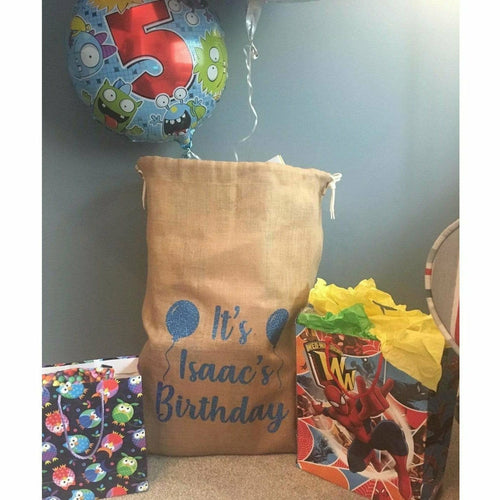 Personalised birthday balloons presents gift sack