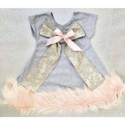 Boutique Luxurious Grey Fur Trim Dress