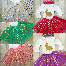 Easter baby toddler girl party polka dot tutu with white & gold romper