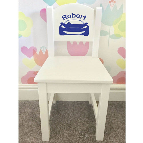 Personalised Girl or Boy Car Design gift wooden nursery chair