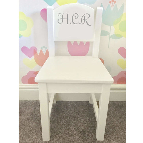 Personalised Initial Baby Girl or Boy white toddler wooden nursery dining chair