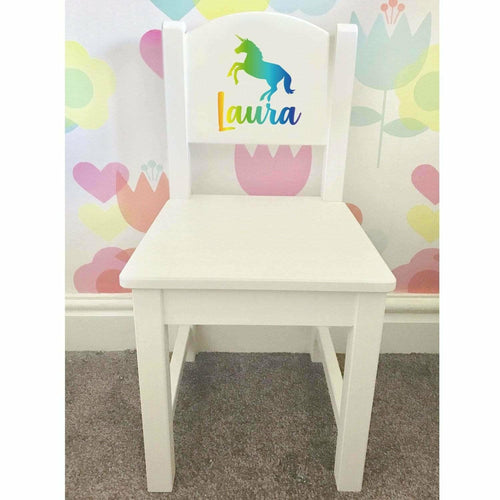 Personalised Girl or Boy Unicorn Rainbow Design gift wooden nursery chair