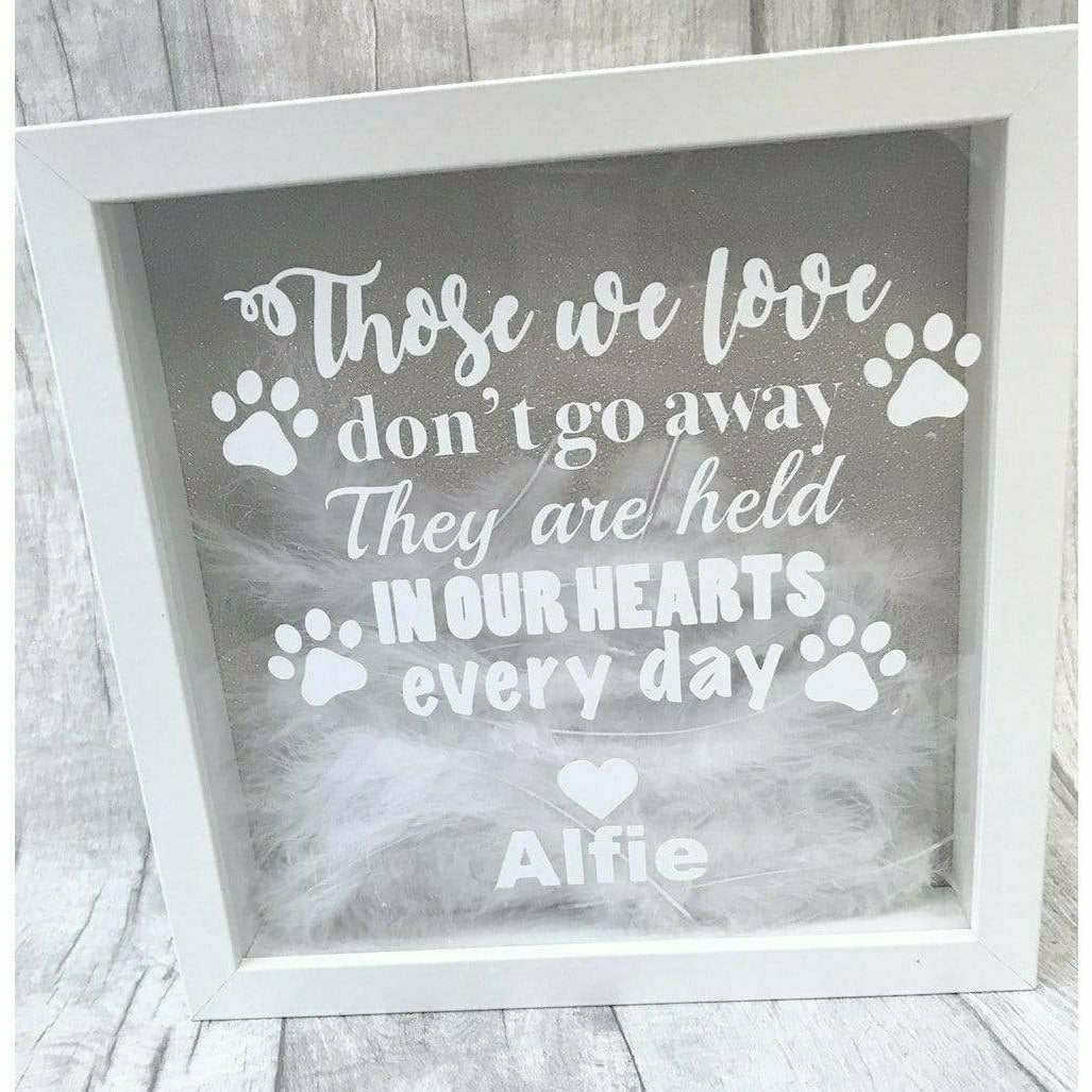Those we love don't go away. They are held in our hearts forever. Dog heaven remembrance home Glitter Box Frame