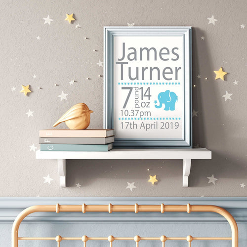 Personalised Elephant Animal Baby Boy or Girls Nursery/ Children's Bedroom Print