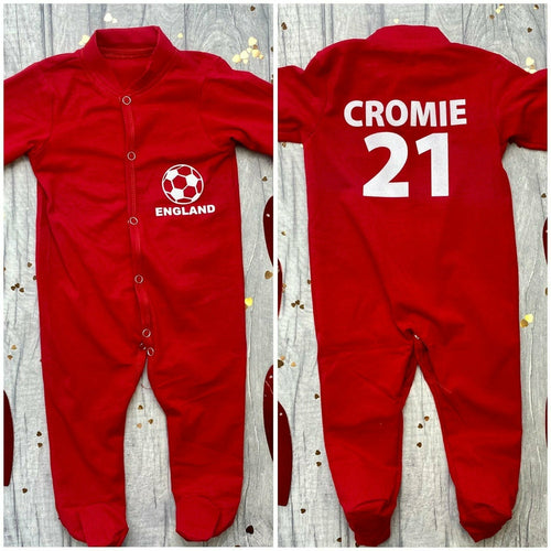 Personalised 'England' Football Name and Number on Back, Red Sleep Suit