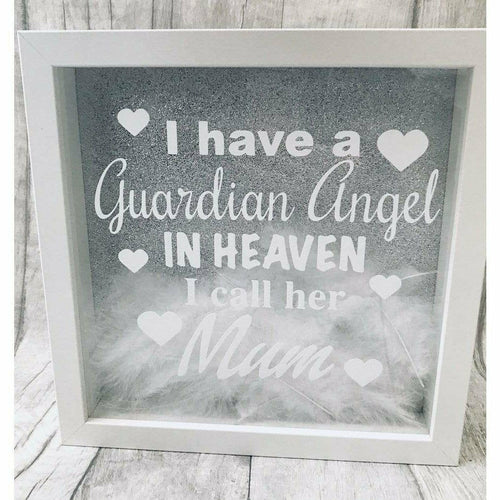 Mum memorial memory feather angel wedding quote box frame picture print silver