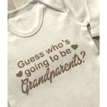 Guess who's going to be Grandparents? Pregnancy announcement white long sleeve romper