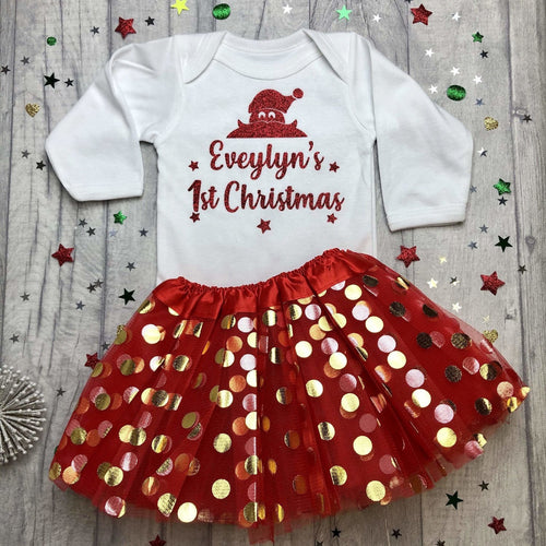 Baby Girl's Personalised 1st Christmas Long Sleeve White Romper and Red Tutu Skirt, Red Glitter Santa Design