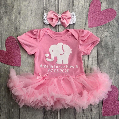 Personalised elephant date of birth tutu romper with white glitter writing