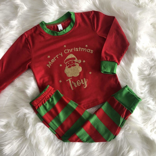 Personalised Santa Merry Christmas red and green little girls & boys Christmas Pyjamas