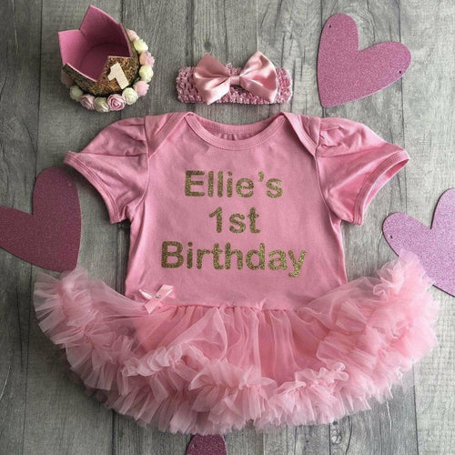 Personalised '1st Birthday' Tutu Romper with Matching Bow Headband, Gold Glitter Design