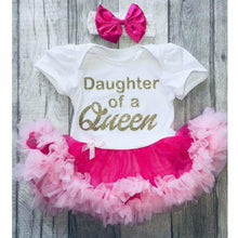 Daughter of a Queen baby girl tutu romper suit with headband