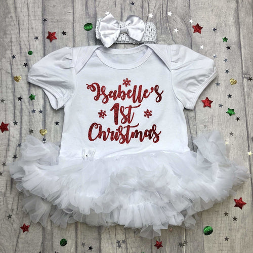 Baby Girl's Personalised 1st Christmas White tutu romper with matching bow headband, Red Glitter Snowflake Design