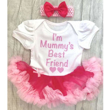 I'm Mummy's Best Friend Baby Girl Pink and White Tutu Romper