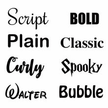Choices of font for personalisation