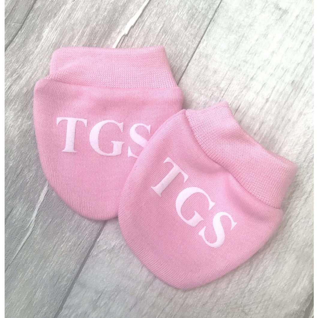 39ebc20149d1 Personalised Initial Baby Girl Pink Mittens