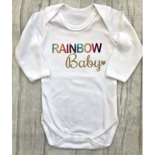 Rainbow Baby gold & white Romper