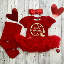 Personalised 'First Eid' Baby Girl's Red Tutu Romper With Matching Bow Headband and Red Tights, Gold Glitter