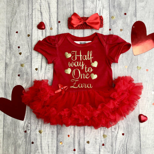 'Half Way To One' Baby Girl Birthday Tutu Romper With Matching Bow Headband, Gold Glitter design