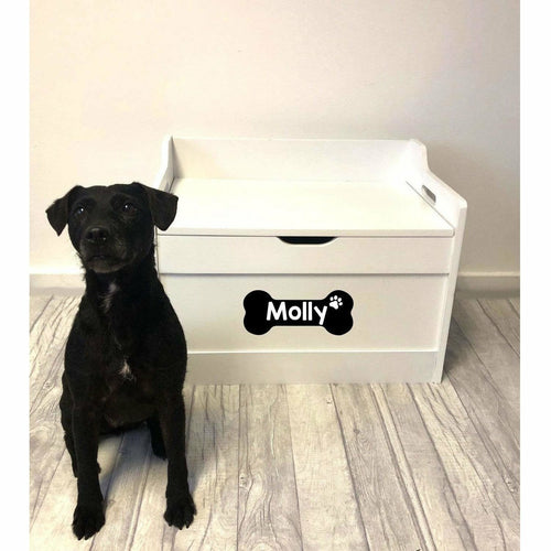 Personalised Dog / Pet Bone Design Toy Box White Wood