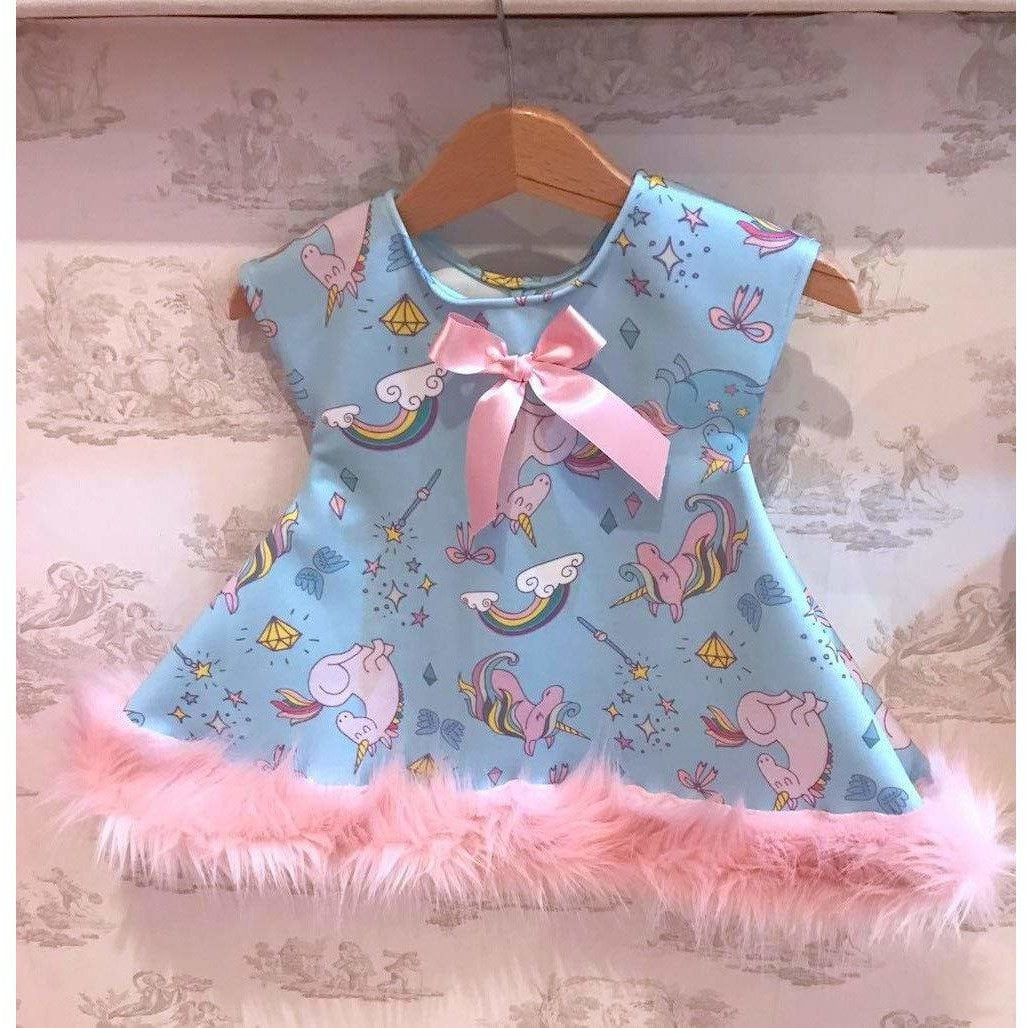 Boutique Unique Luxurious Blue and Pink Fur Trim Girls Party Dress