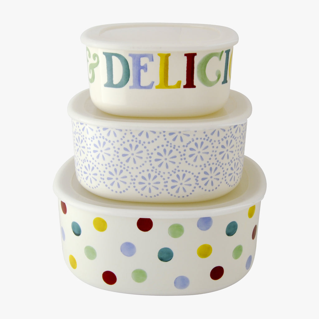 Polka Dot Melamine Set of 3 Storage Containers
