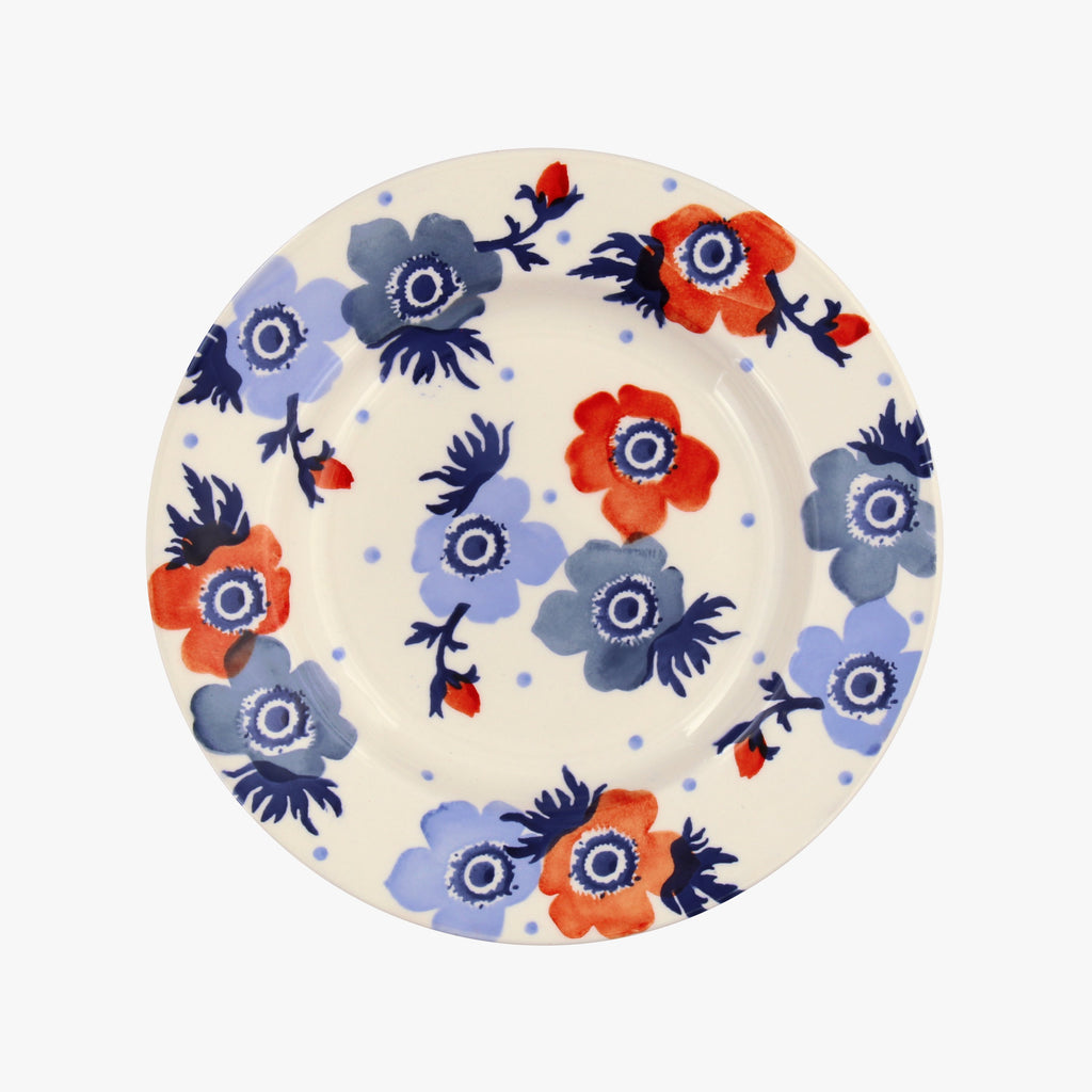 Red & Blue Anemone 8 1/2 Inch Plate