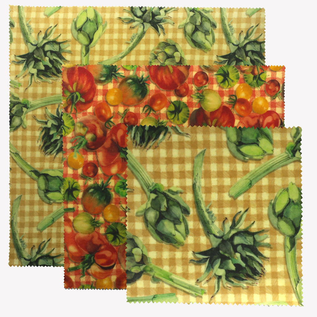 Vegetable Garden Pack of 3 Beeswax Wraps