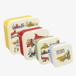 Builders at Work Set of 4 Plastic Snack Tubs