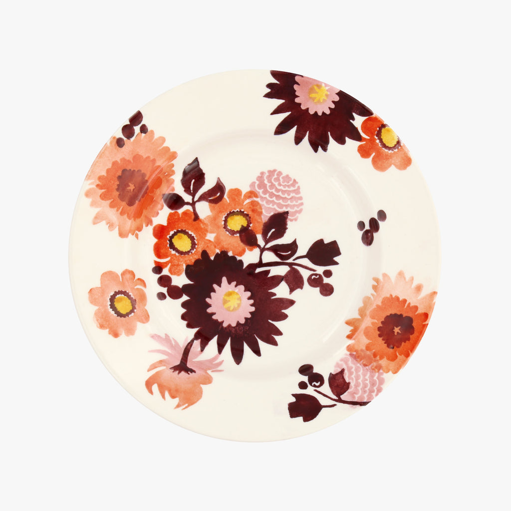 "Seconds Bright Dahlias 8 1/2"" Plate"
