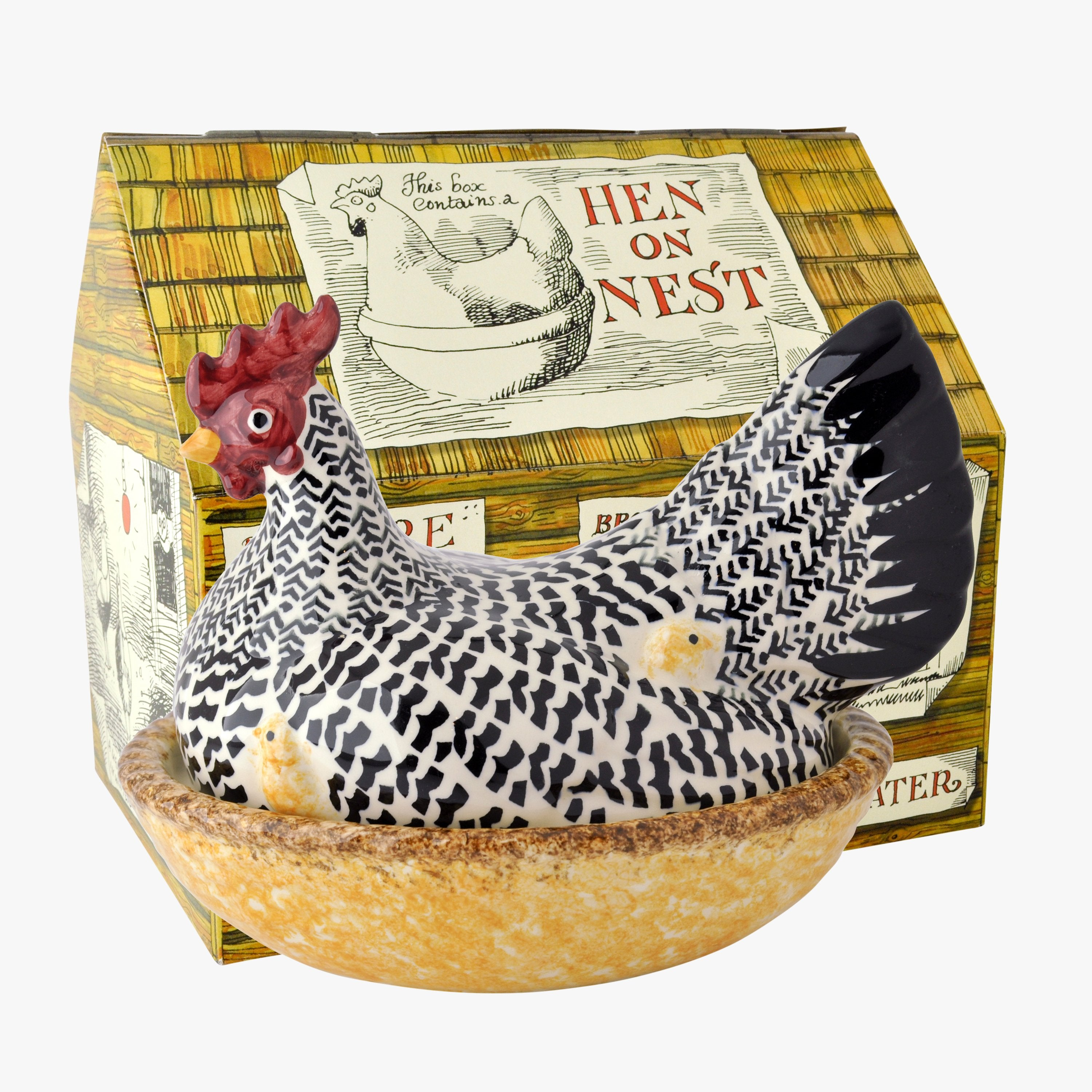 Photo of Silver hen on nest boxed