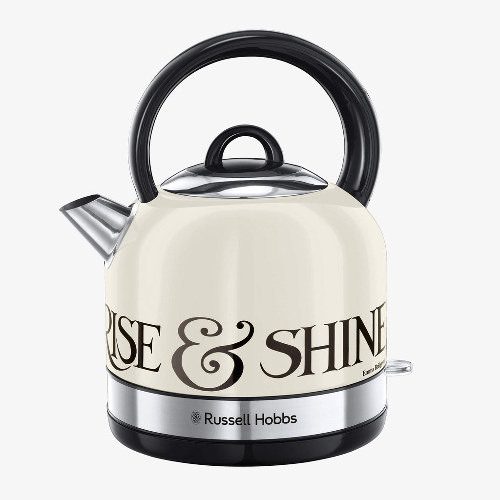 Russell Hobbs and Emma Bridewater Rise & Shine Kettle - stainless steel cordless bampton kettle. Cream finish with black Rise & Shine lettering.