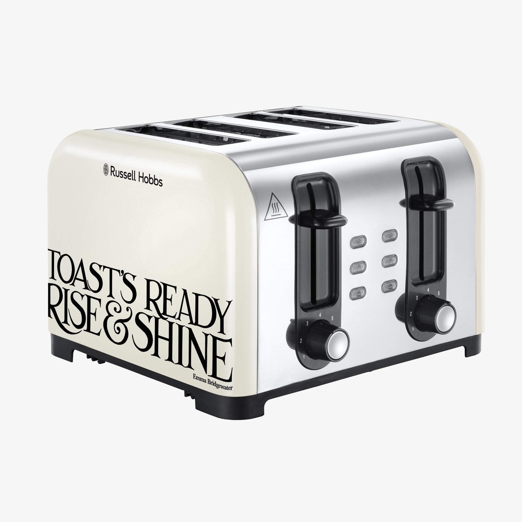 Russell Hobbs & Emma Bridgewater Toast & Marmalade 4 slice Toaster - Classic styling beige and black electric toaster that looks great in farmhouse kitchen settings, part of the Toast & Marmalade breakfast collection. Wide slots for toast, crumpets & bun.
