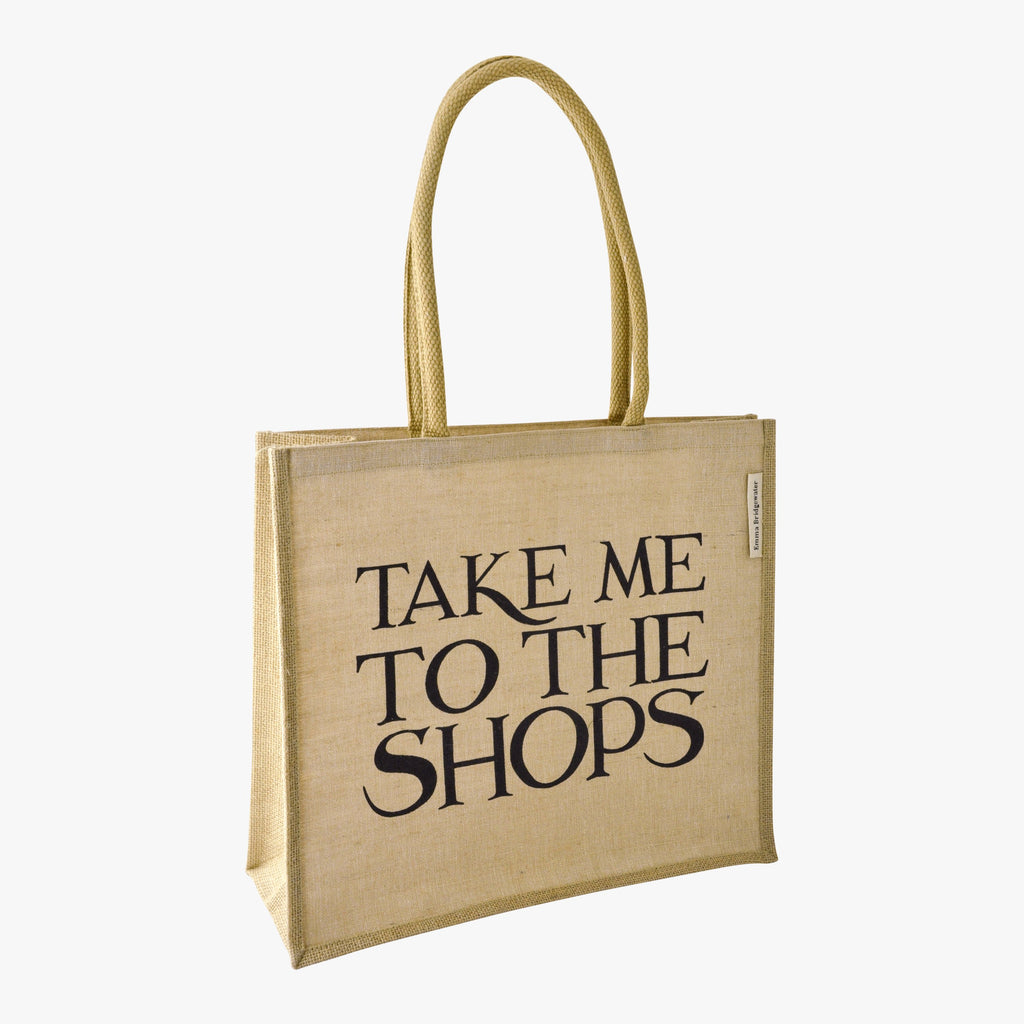 Black Toast To The Shops Jute Bag