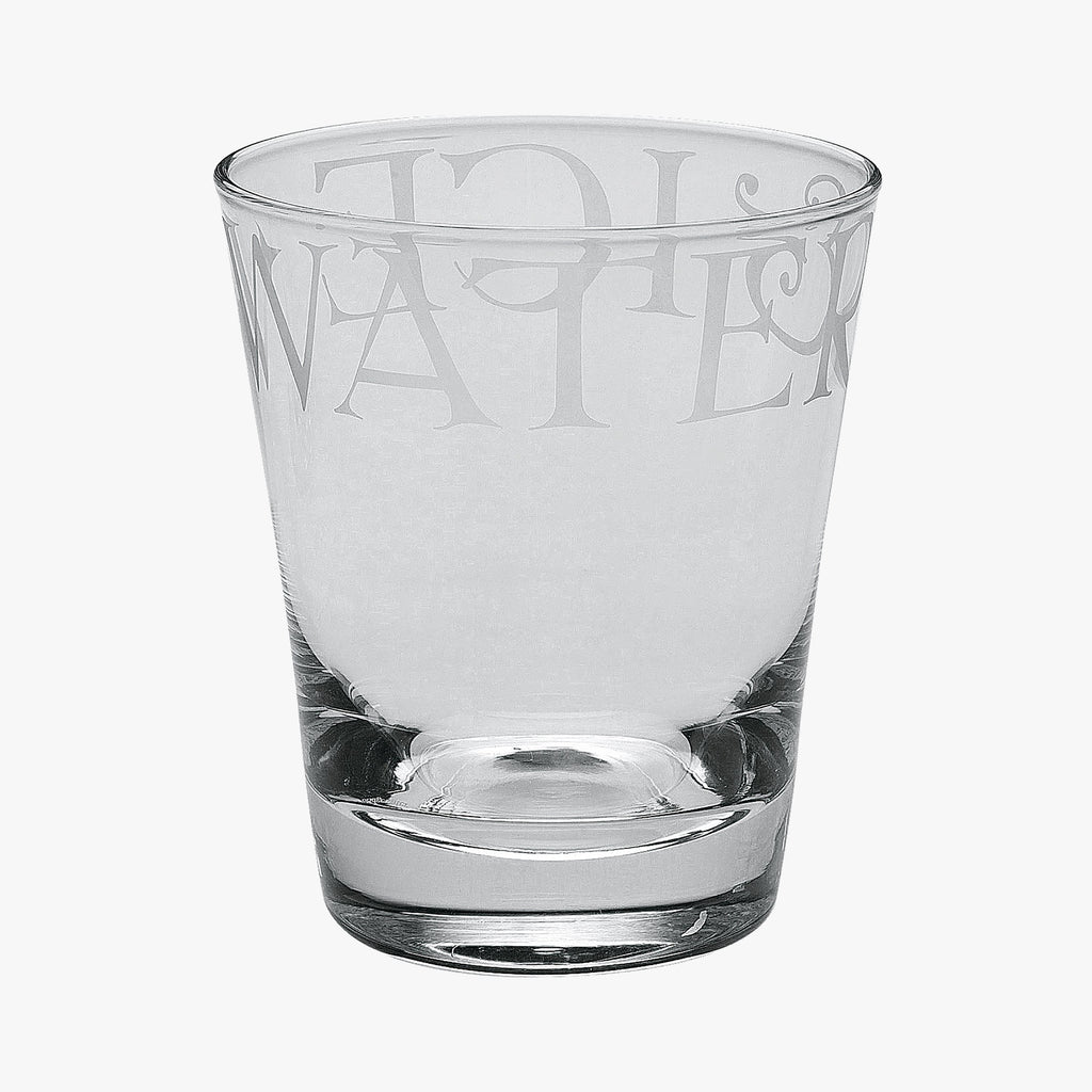 "Emma Bridgewater Black Toast Large Glass Tumbler - Hand blown and lead free large glass tumbler with the words ""Water & Ice"" printed. A great glass tumbler when drinking any beverage."