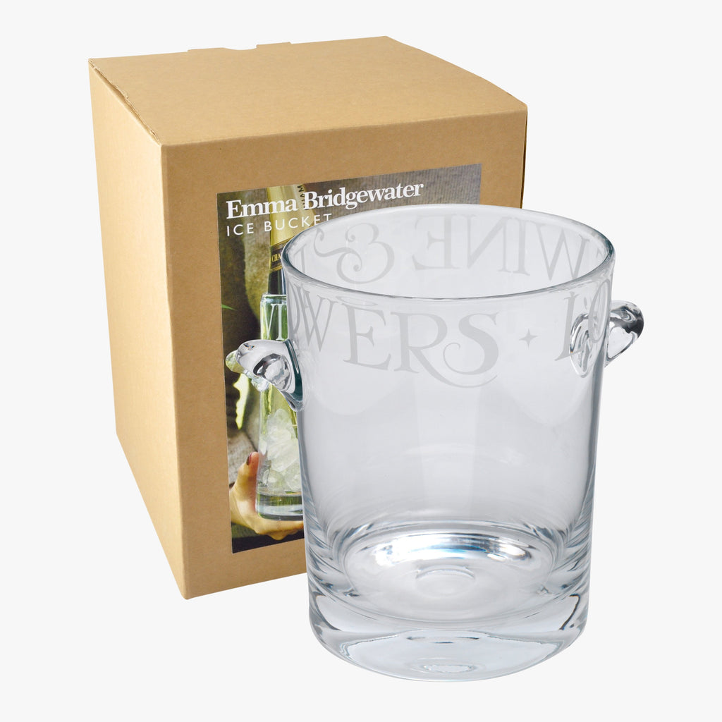 Black Toast Glass Ice Bucket Boxed