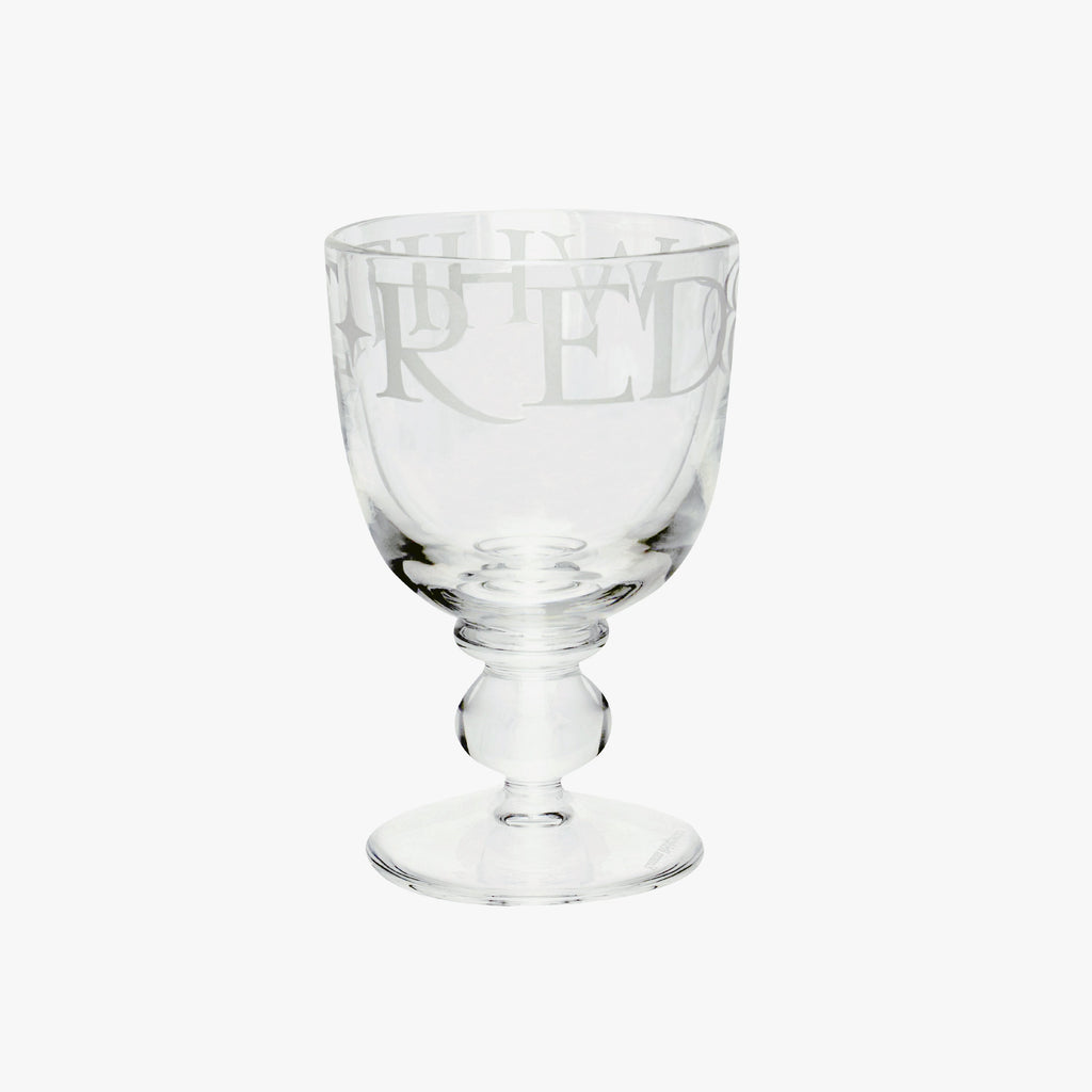 Emma Bridgewater Black Toast Glass Small Wine Glass - Smooth hand-blown lead free glass made in Poland designed with the words 'Red & White' - a great housewarming gift idea.