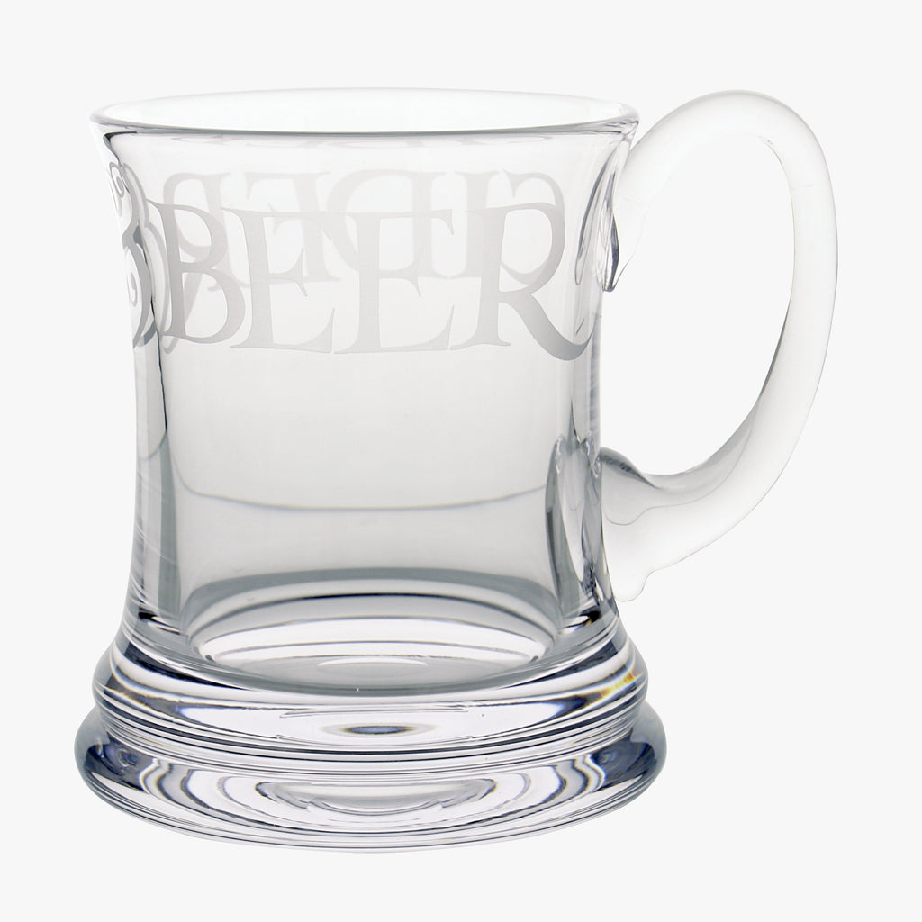 "Emma Bridgewater Glass Beer Mug - A simple and elegant glass beer mug with text that reads ""beer & cider"" for a refreshing glass of craft beer or gift for him."