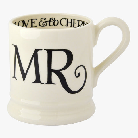 Black Toast Mr & Mrs 2 x 1/2 Pint Mugs