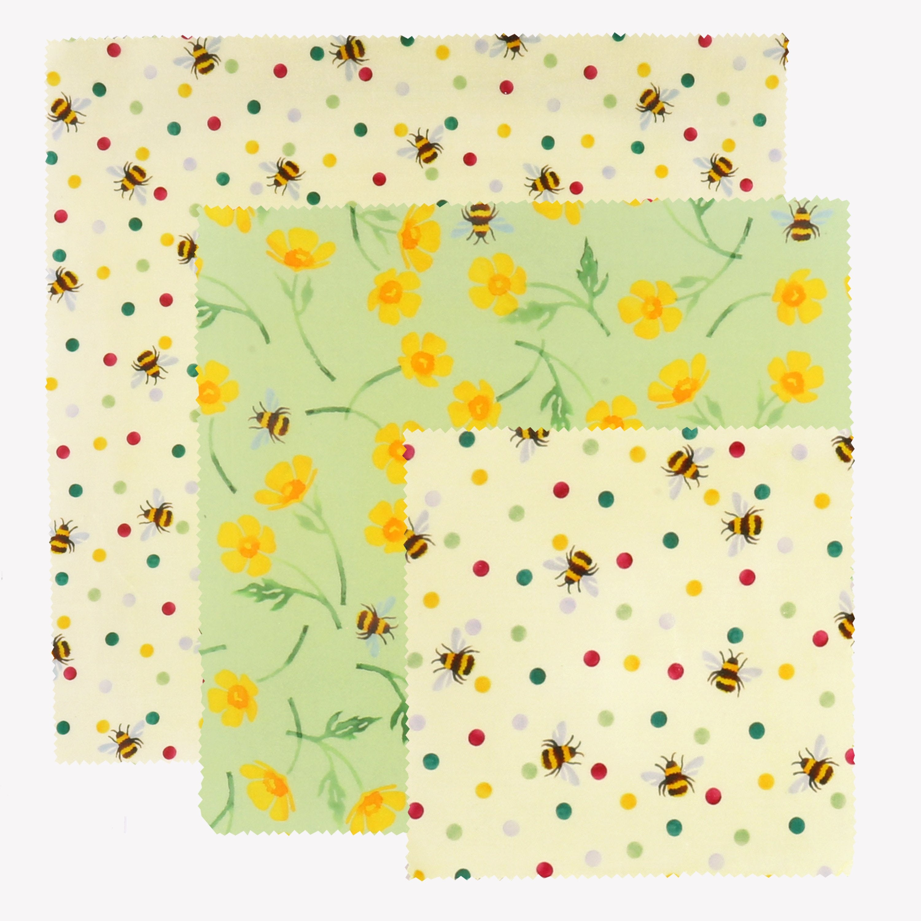 Bees Yellow Flowers Natural Living Accessories Reusable Beeswax Food Wraps and Polka Dots Set of 3 Beeswax Wrap Set