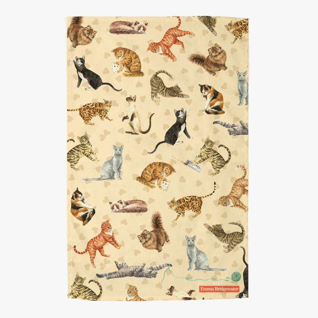 Cats and Hearts Tea Towel