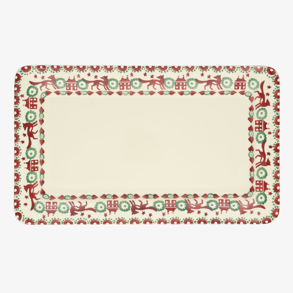 Seconds Christmas Joy Red & Green Oblong plate
