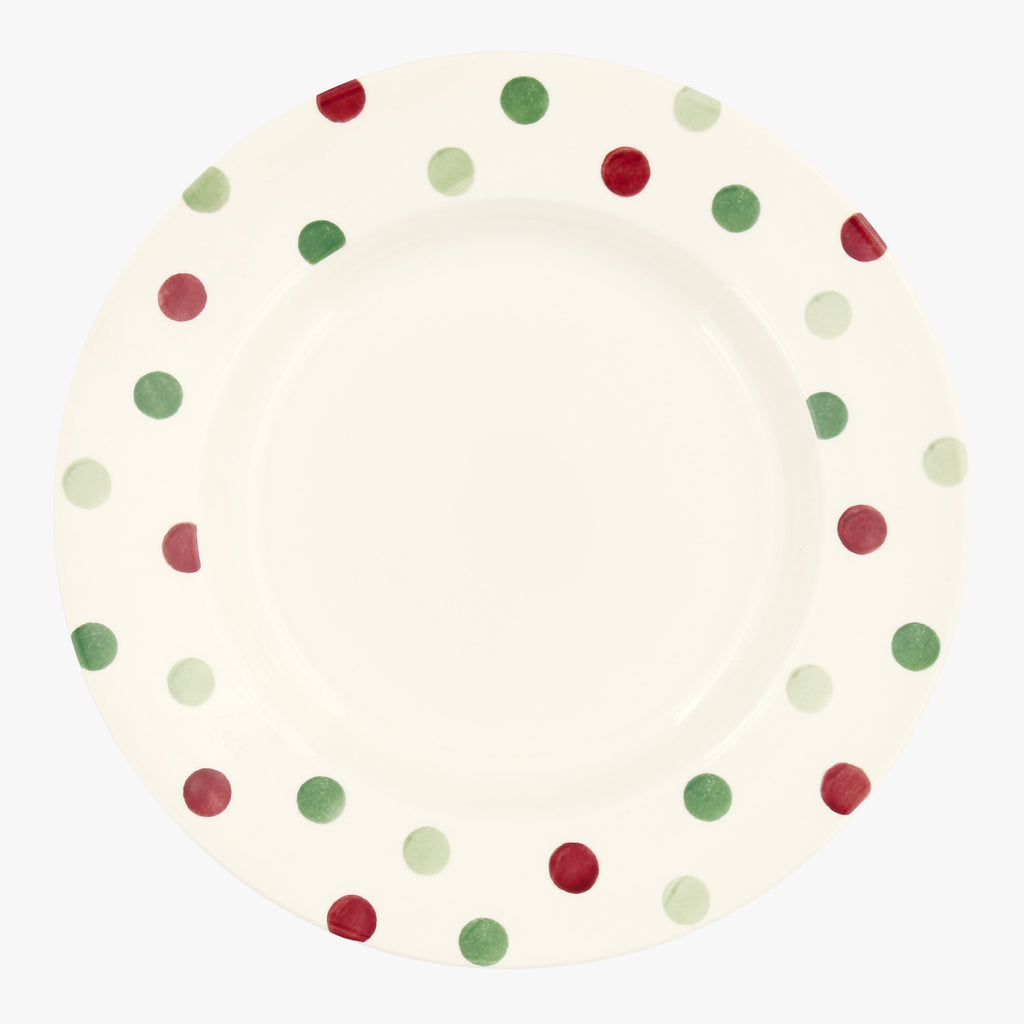 Seconds Christmas Polka Dot 10 1/2 plate