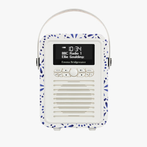 Blue Daisy Mini Bluetooth Retro Radio