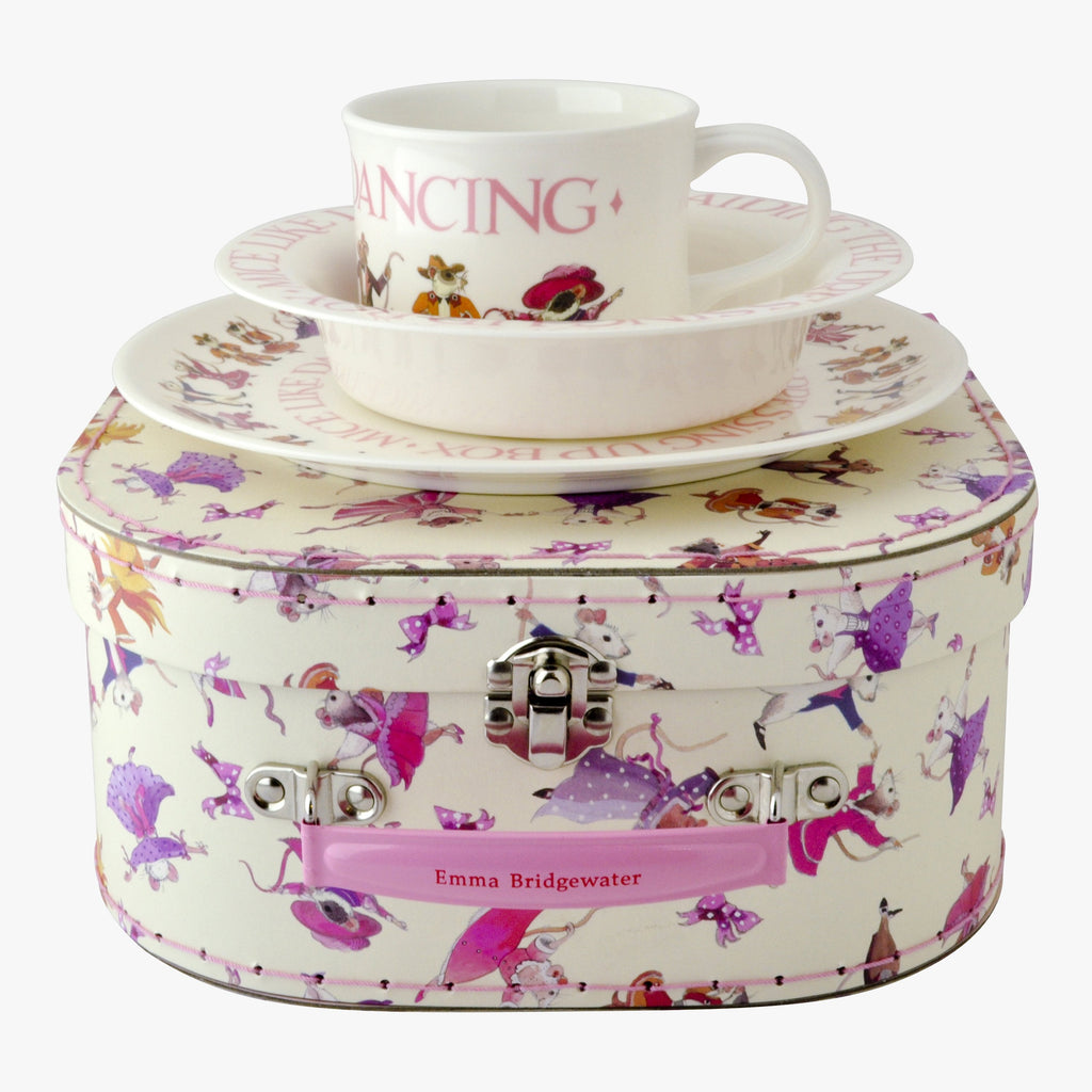 Dancing Mice 3 Piece Children's Melamine Suitcase Set