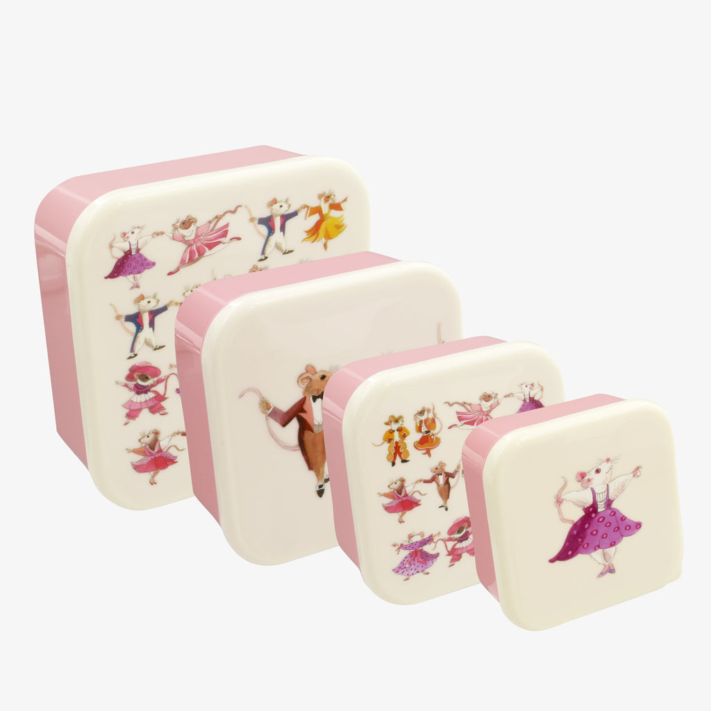 Dancing Mice Set of 4 Plastic Snack Tubs