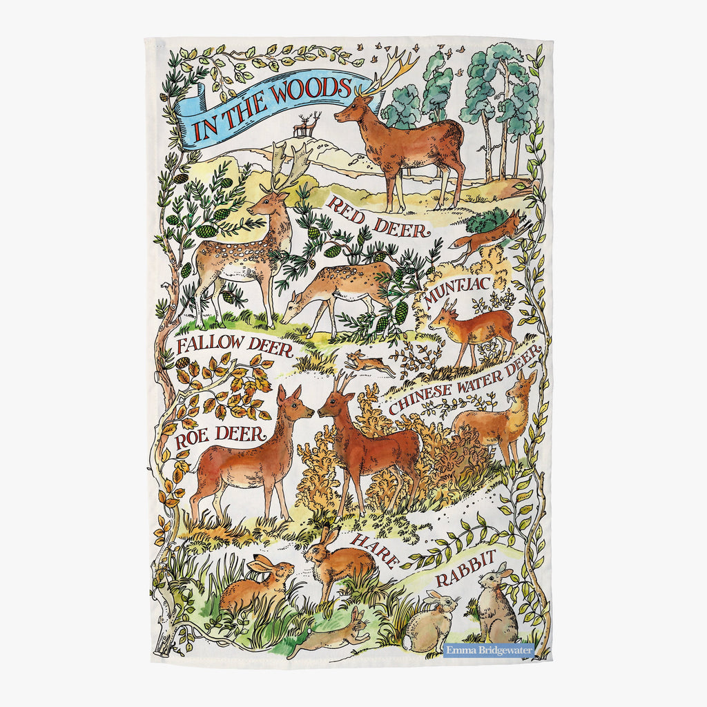 Deer In the Woods Tea Towel