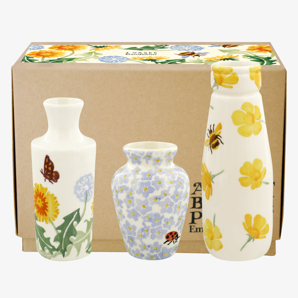Dandelion Set Of 3 Vases Boxed