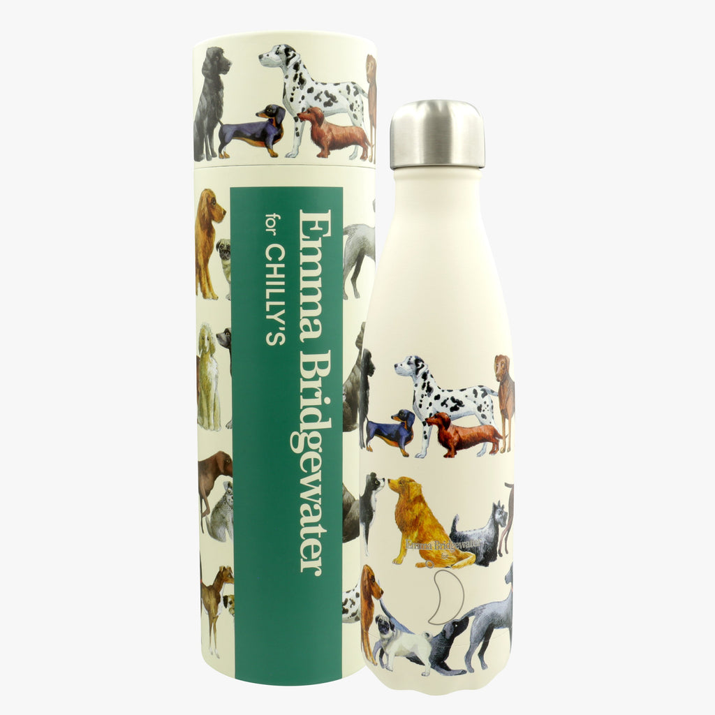 Emma Bridgewater Dogs Print Design Insulated Chilly's Water Bottle - stainless steel retro style water bottle, ideal for dog lovers who want to stay hydrated during their walks.