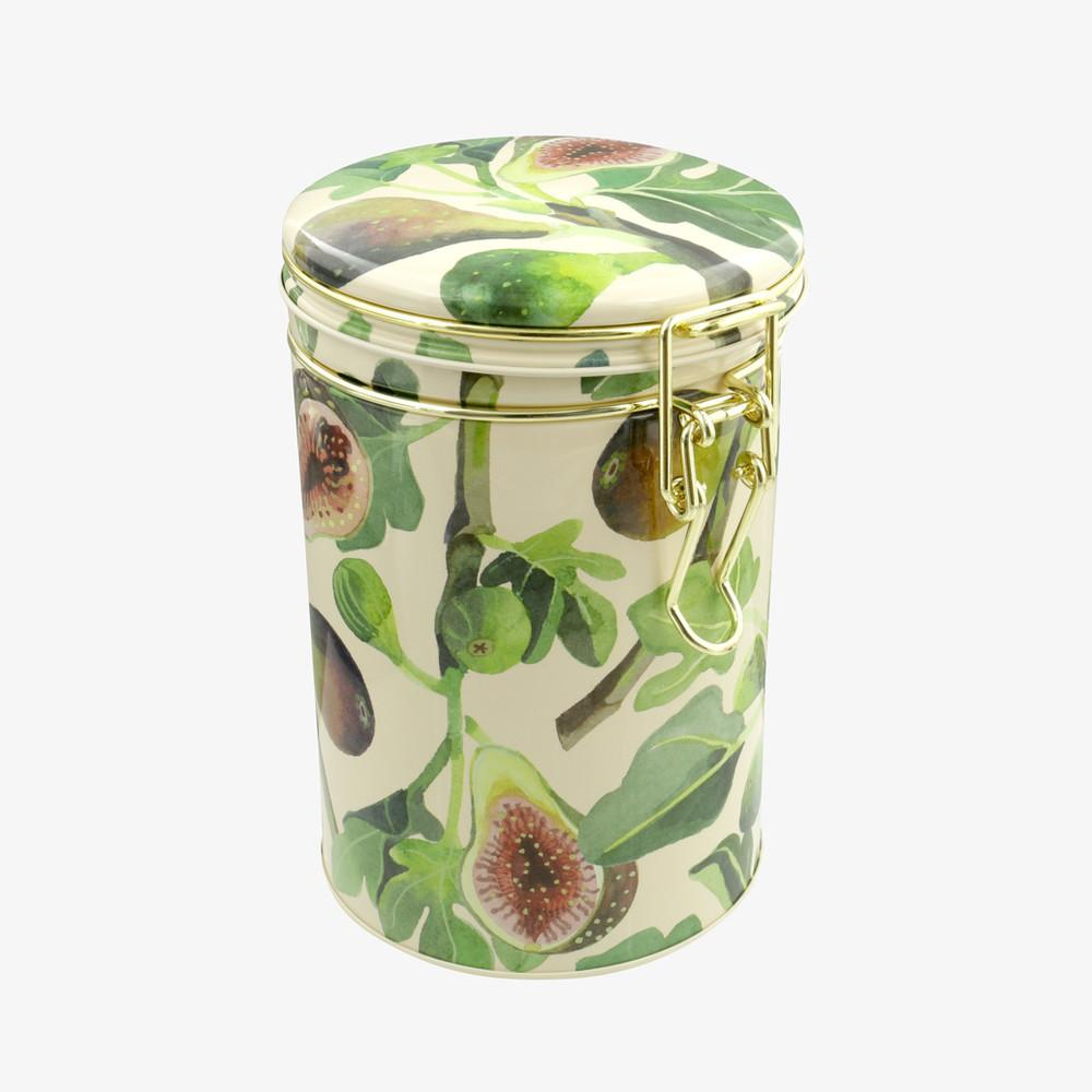 Vegetable Garden Figs Clip Lid Tin Caddy